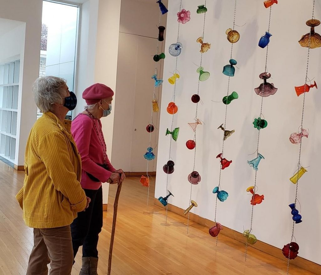 2020 - Wall of glass items during our October Activities at the Des Moines Art Center, Reiman Gardens, and Greater Des Moines Botanical Garden.